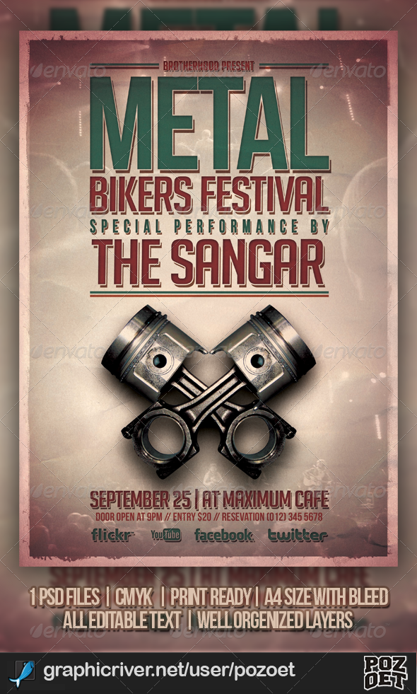 Metal Bikers Flyer Template - Concerts Events