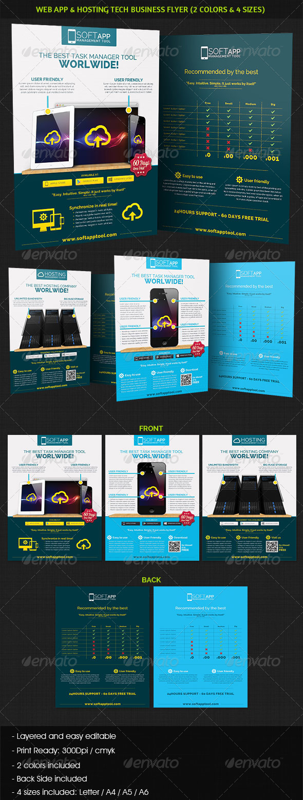 GraphicRiver Web App Tech & Hosting Business Flyer 4364129