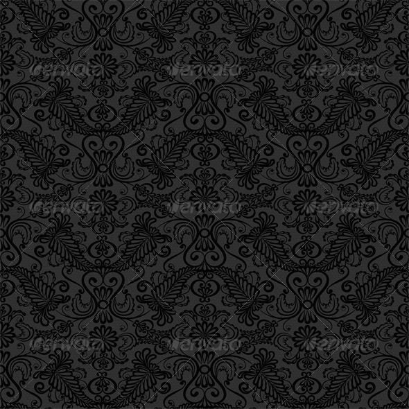 GraphicRiver Black Seamless Lace Pattern on Gray Background 4364619