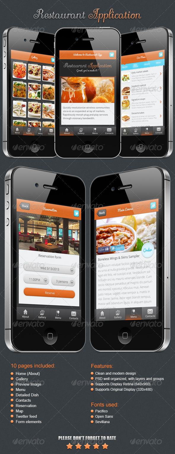GraphicRiver Restaurant Application 4290530