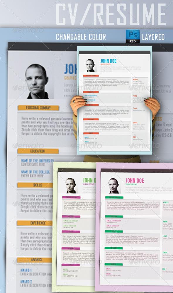 GraphicRiver CV Resume Template 4102165