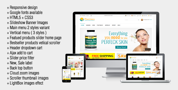 01 home.  large preview - Pharmacy - Responsive Magento Theme