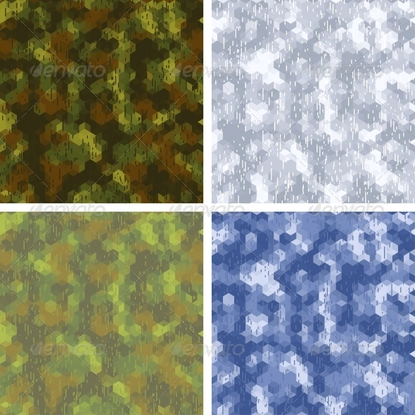 GraphicRiver Seamless Stylized Camouflage Patterns 4365432