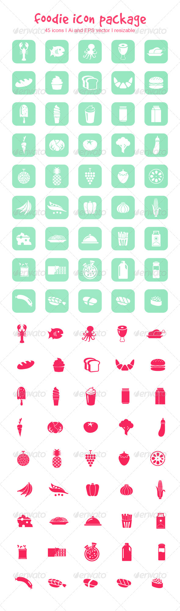 GraphicRiver Foodie Icon Package 4365873