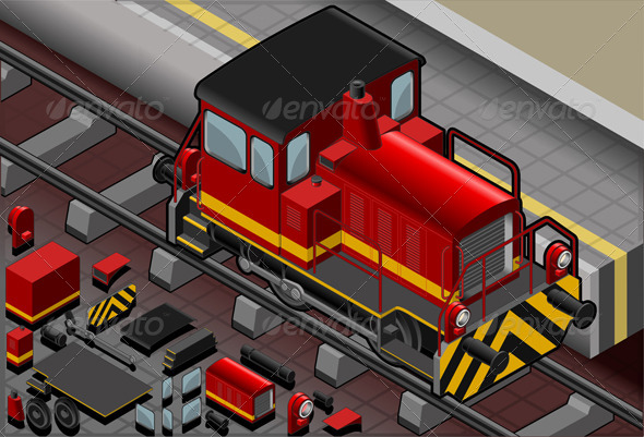 GraphicRiver Isometric Red Train in Front View 4366047