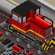 Isometric Red Train in Front View - GraphicRiver Item for Sale