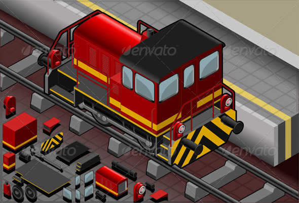 GraphicRiver Isometric Red Train in Rear View 4366056
