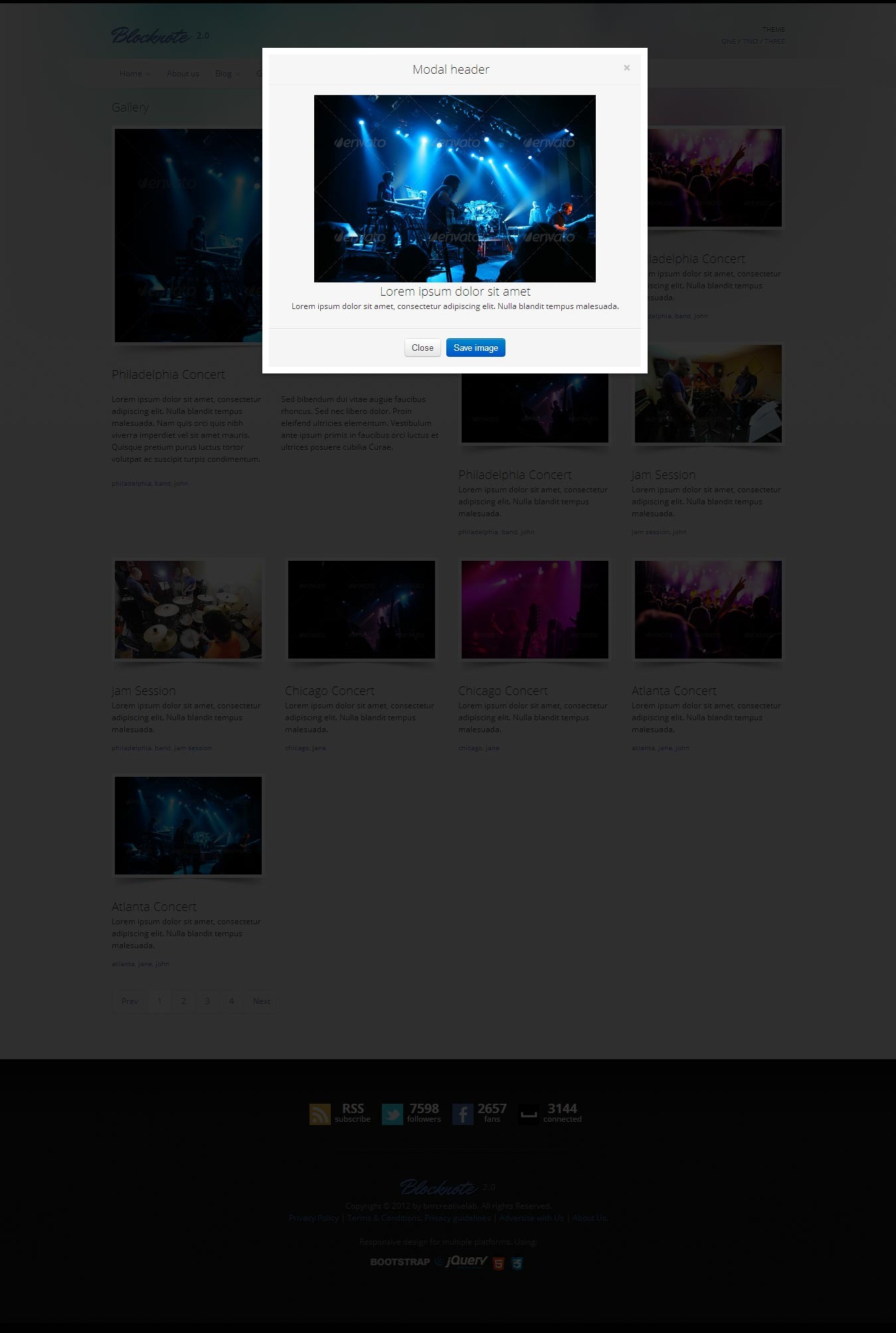 Blocknote - Responsive Website for Band/Musician