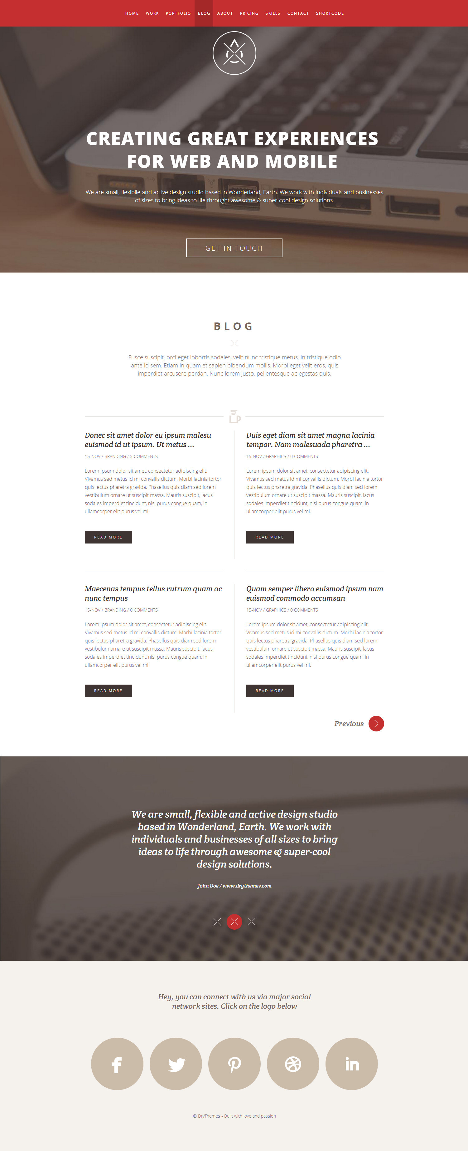 Dry  - One Page Responsive Wordpress Theme