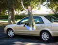 Teen With Car Jumps for Joy - PhotoDune Item for Sale