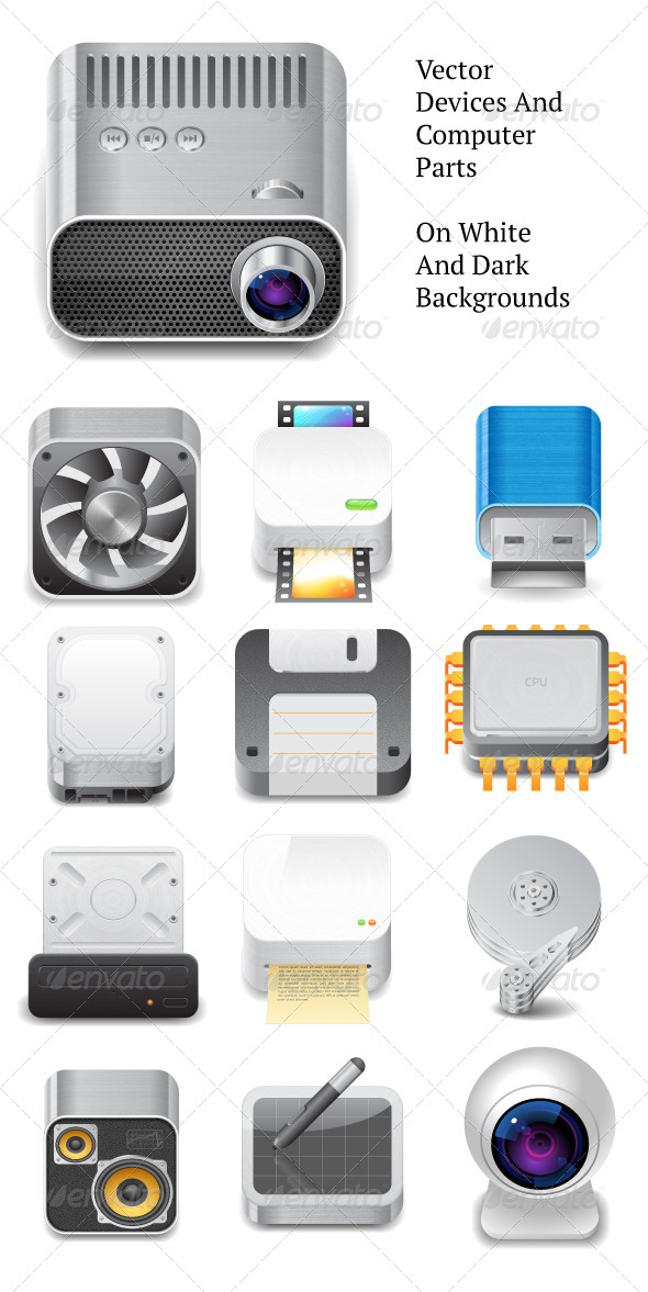 GraphicRiver Vector Devices and Computer Parts 4267863