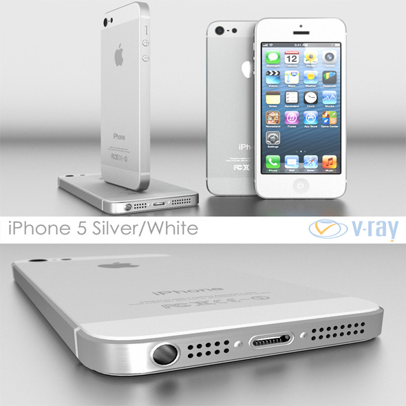 3DOcean Apple iPhone 5 White Silver Vray 4366783