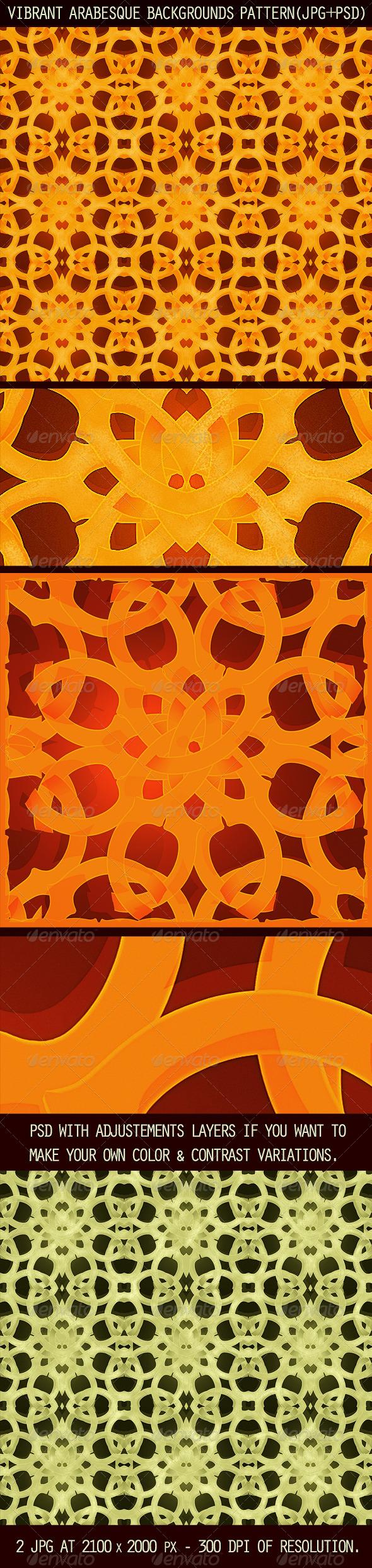GraphicRiver 2 Vibrant Arabesque Background Patterns 4367117