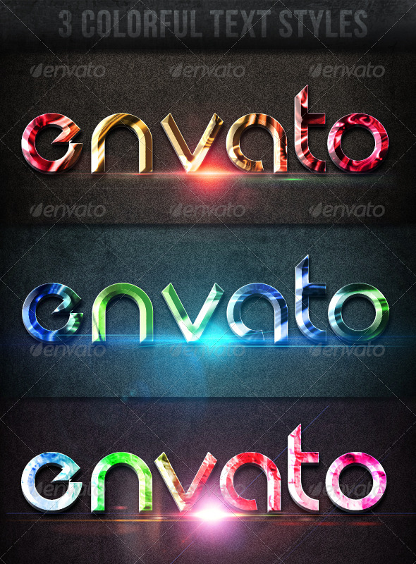 GraphicRiver 3 Colorful Text Styles 4367324