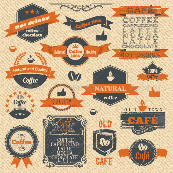 Vector Coffee Stamps and Label Design Backgrounds - Decorative Vectors