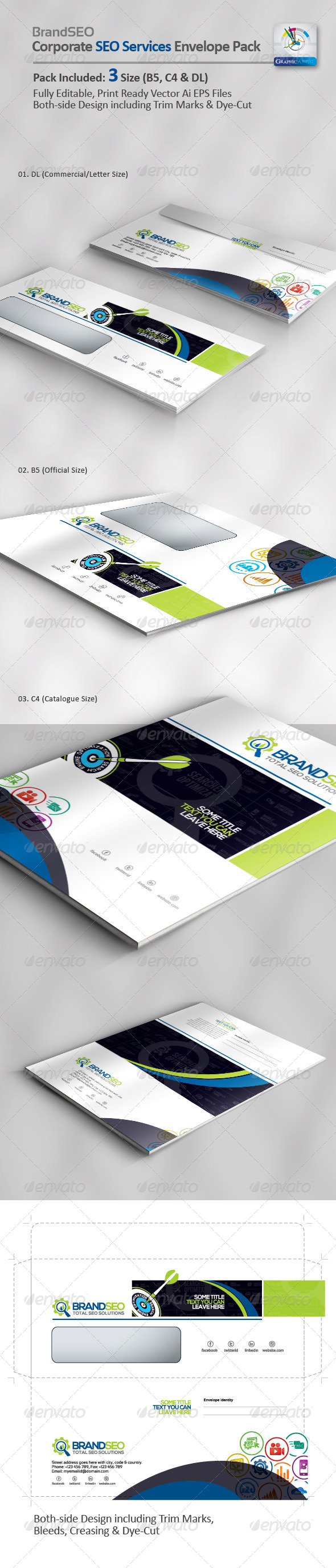 GraphicRiver BrandSEO Creative SEO Services Envelope Pack 4367955
