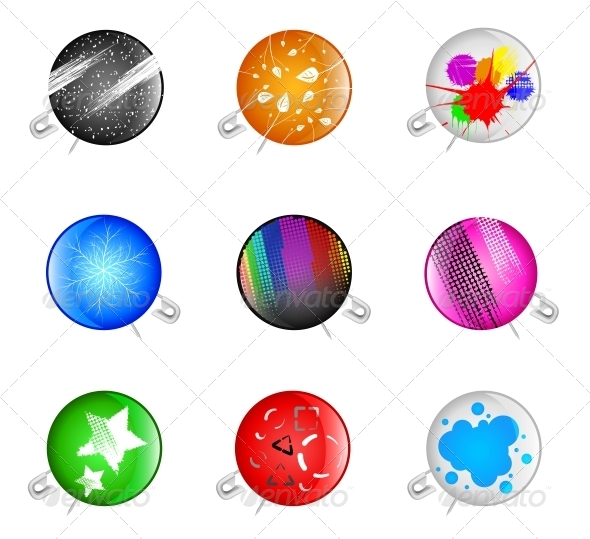 GraphicRiver Badges with a Pin 4367966