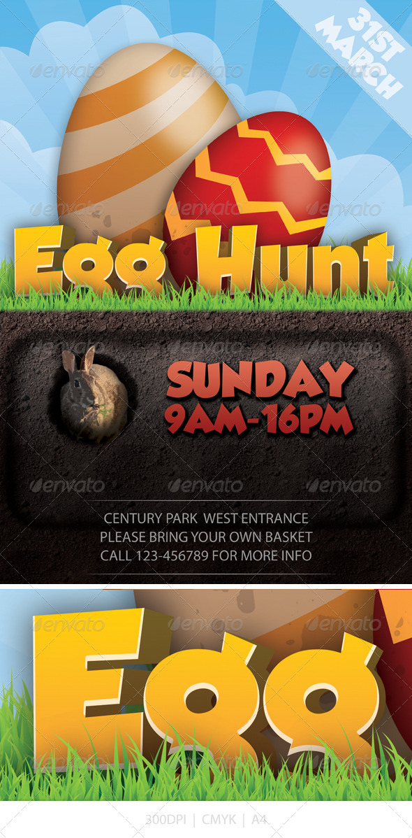 GraphicRiver Easter Egg Hunt Flyer 4243792