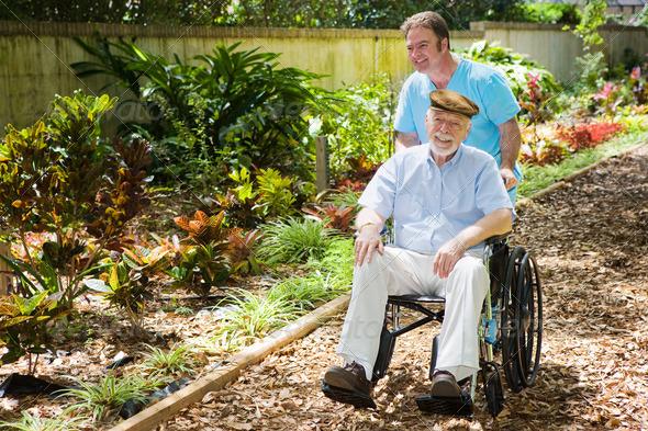 PhotoDune Disabled Senior Enjoying Garden 468886