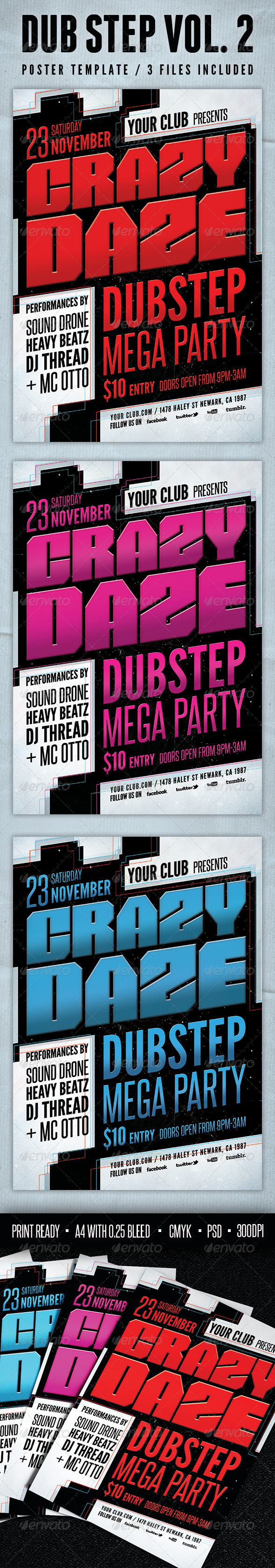 GraphicRiver Dub Step Poster Template Vol.2 4234566