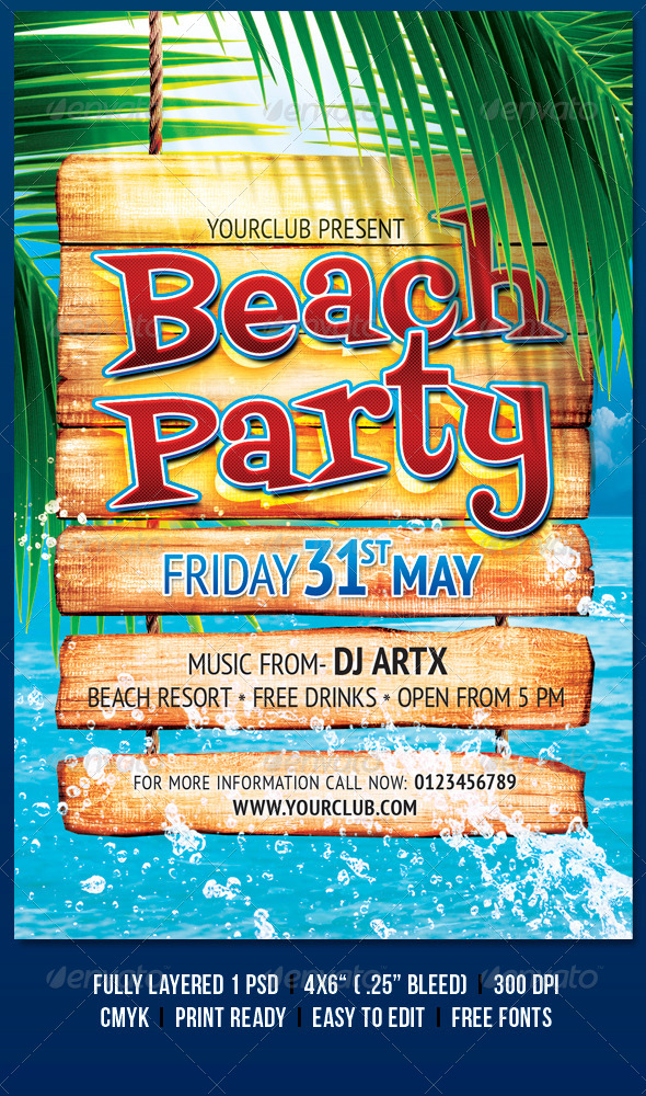 Beach Party - Flyers Print Templates