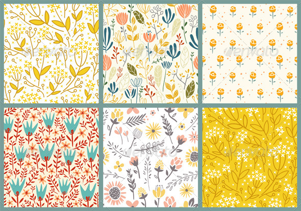 GraphicRiver Flowers Patterns 4369221