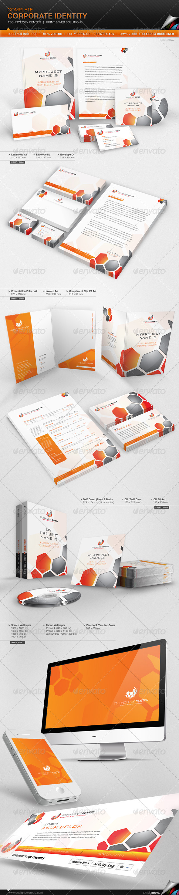 Corporate Identity - Technology Center - Stationery Print Templates