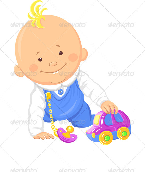 Vector Baby Boy Playing with a Toy Car