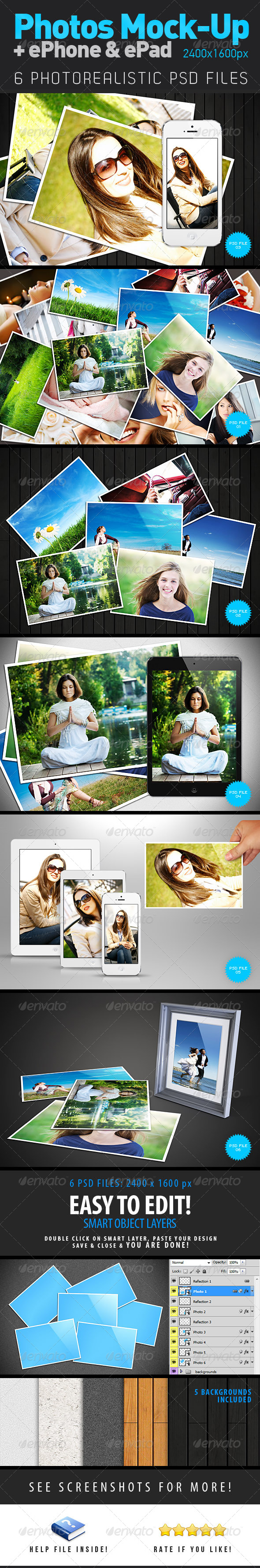 Photos + ePhone + ePad Mock-Up - Miscellaneous Product Mock-Ups