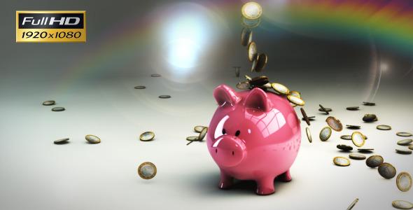 Piggy Bank Falling Euro Coins
