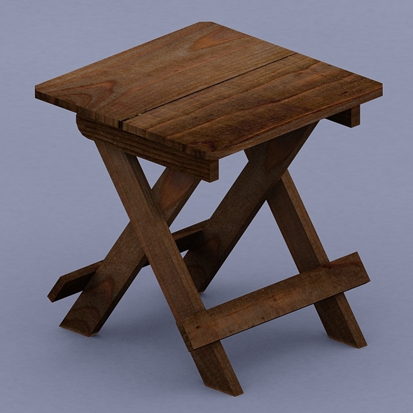 Foldable Wooden Stool - 3DOcean Item for Sale