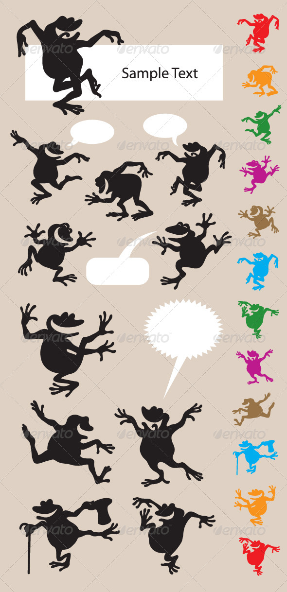 GraphicRiver Frog Dancing Silhouettes 4372128