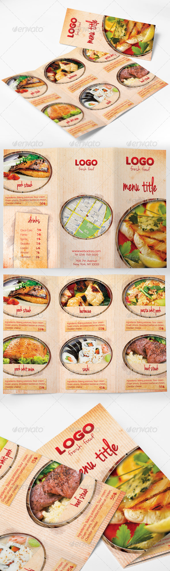 Food Menu Tri-fold Brochure - Food Menus Print Templates
