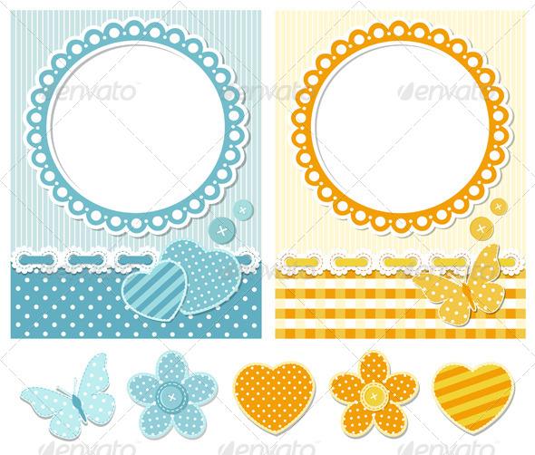 GraphicRiver Fabric Scrapbook Set 4372660