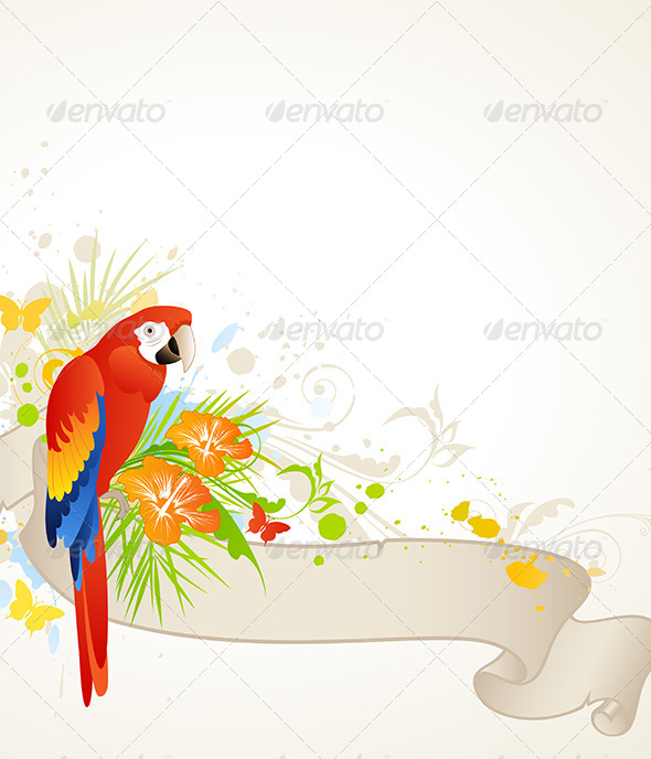 GraphicRiver Summer Banner with Red Parrot 4372687