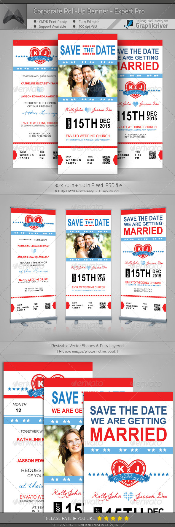 GraphicRiver Wedding Roll-up Banner Sports Pass 4221517