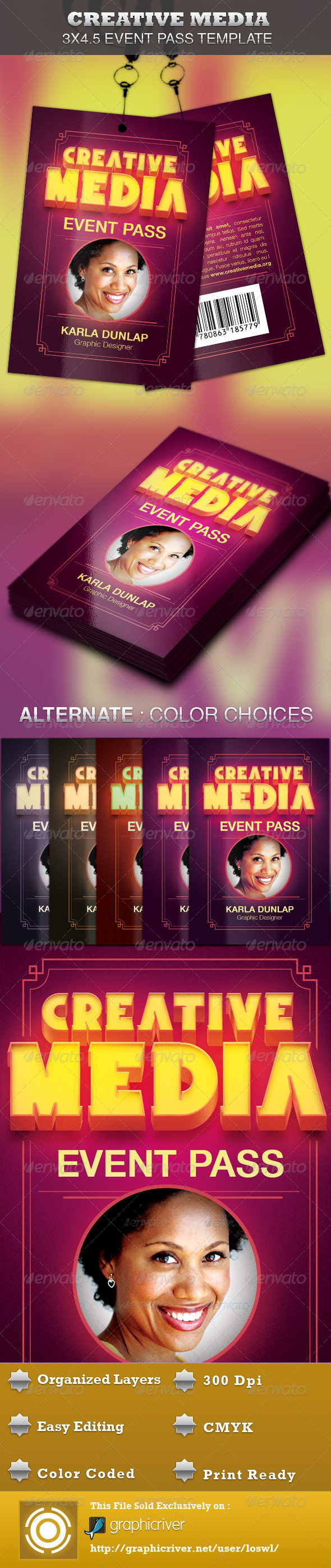 Creative Media Event Pass Template - Miscellaneous Print Templates