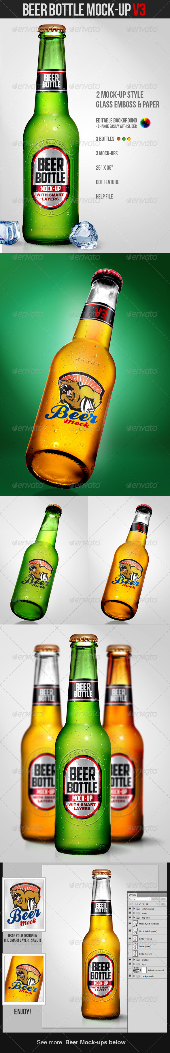 GraphicRiver Beer Bottle Mock-Up V3 4333513