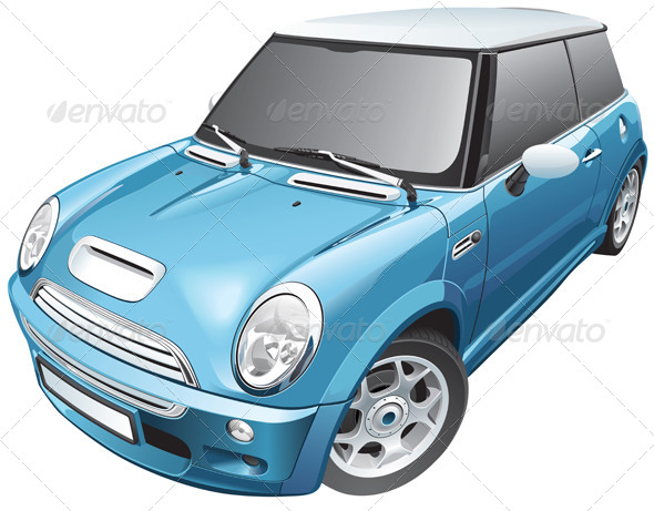 Blue Small Car - Vectors