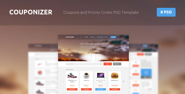 ThemeForest Couponizer Coupons and Promo Codes PSD Template 4367571