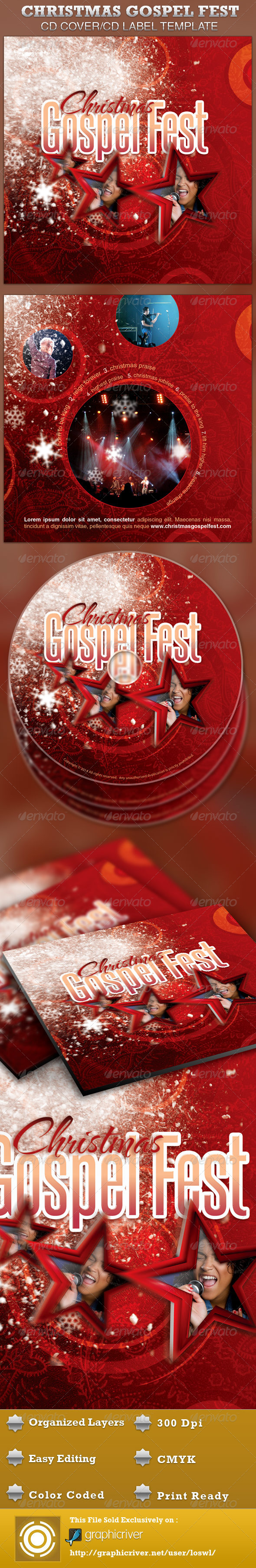 GraphicRiver Christmas Gospel Fest CD Artwork Template 4274240