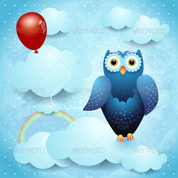 GraphicRiver Owl and Balloon 4375772