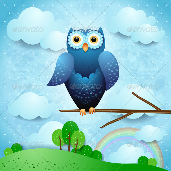 GraphicRiver Owl and Countryside 4375810