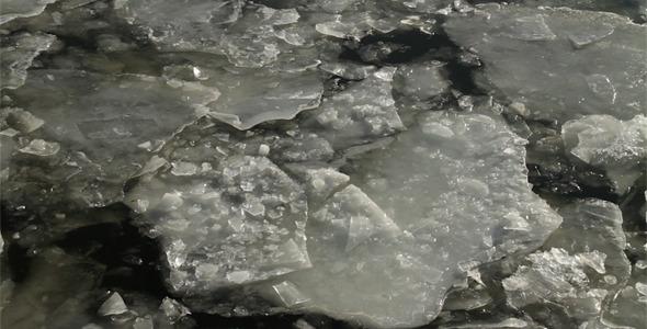 Ice Drift on River