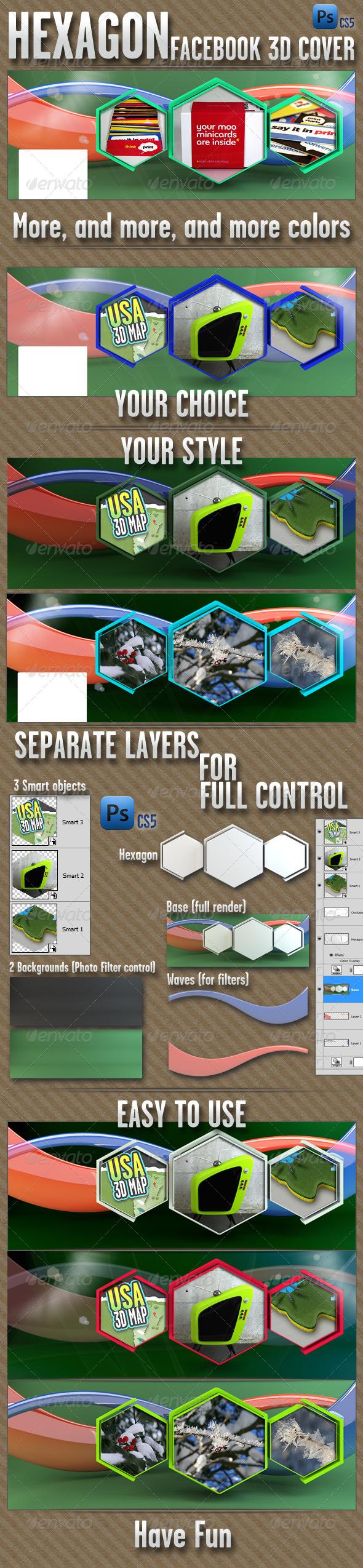 GraphicRiver Facebook Cover Hexagon 4279360