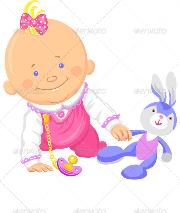 GraphicRiver Vector Baby Girl Playing with a Toy Rabbit 4376663