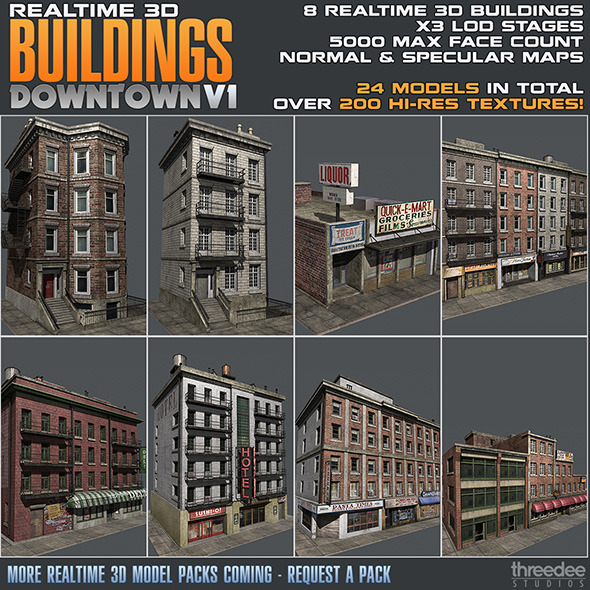 3DOcean Realtime 3D Buildings Pack Downtown V1 4376864