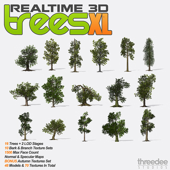 Realtime 3D Trees - XL Pack - 3DOcean Item for Sale
