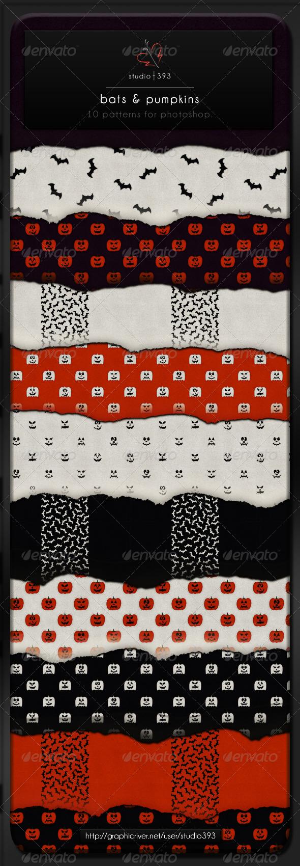 GraphicRiver 10 Bats & Pumpkins Paper Patterns 4377409