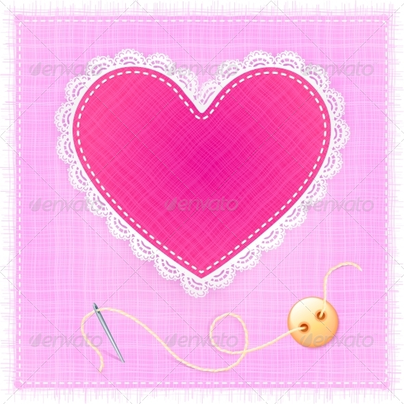 GraphicRiver Red Textile Heart with Lace Needle and Button 4377456